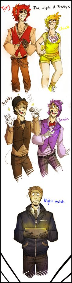 Five Nights At Freddy's Humanized by BlasticHeart.deviantart.com on @deviantART this is soooo good