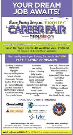 We are still the #1 resource for hiring and finding Jobs in Maine! We are approaching the finish line for exhibitor booth space - Contact us if you would like to be an exhibitor: 207-791-6135 or email - recruitment@mainetoday.com
