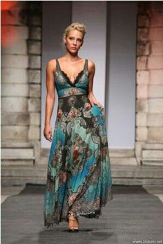 Turquoise | Teal | Brown | fashion, maxi dress, catwalk