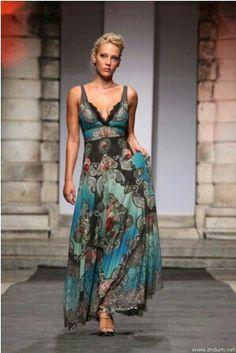 Turquoise   Teal   Brown   fashion, maxi dress, catwalk