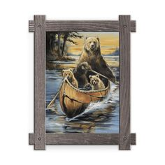 Framed in a rustic-style design, these distressed frames, are the perfect complement to the art they enhance a grizzly and two cubs paddling on a sunset lake. Art by Mason Maloof Designs.