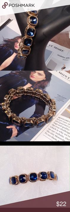 """Navy Blue Bracelet This gorgeous bracelet has a vintage or antique look. Burnished gold with blue rhinestones. Measures 6.5"""" inside wrist measurements. (This closet does not trade or use PayPal) Jewelry Bracelets"""