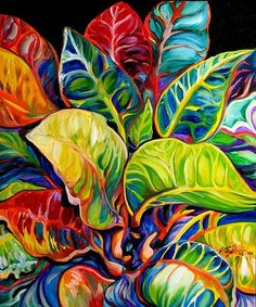 """TROPICAL ABSTRACT"" [A Tropical Abstract of colorful island leaves.]~[Artist Marcia Baldwin of Shreveport, Louisiana - USA]'h4d'120906"