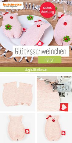 Anleitung für Silvester: Glücksschweinchen nähen Sew the lucky pig. No problem with the free instructions including sewing patterns from buttinette! Sew up and give away for New Year's Eve! Pig Crafts, Diy And Crafts, Christmas Stockings, Christmas Crafts, Alpaca Toy, Sewing Projects, Diy Projects, Diy Mode, Nouvel An