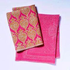 Sari in Fuchsia (top) $176 per yard Chunari in Fuchsia (bottom) $130 per yard Raoul Textiles; 805/899-4947 or raoultextiles.com