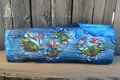 """""""Another Bunch-a-Crabs"""" Hand painted Louisiana driftwood with Gulf Coast Blue Crabs Blue Crabs, Mantle Piece, Driftwood, Louisiana, Coast, Southern, Hand Painted, Fine Art, Painting"""