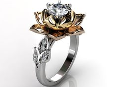 14k three tone white rose and yellow gold diamond by Jewelice, $1,380.00 Tell him I want this one!
