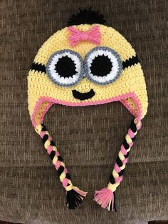 Handmade crocheted Minion Hat for Girl With Earflaps and Braids Colors: yellow, pink, black, white Machine washable and dryer safe. Minions, Minion Hats, Crochet Beanie Hat, Beanie Hats, Beanies, Kids Hats, Children Hats, Yarn Monsters, Crochet Baby