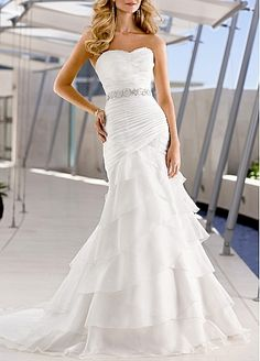 Wonderful Organza Satin & Satin Mermaid Strapless Sweetheart Ruched Beaded Tiered Beach Wedding Dress