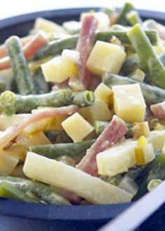 Salada de aipo e feijão verde com maionese de mostarda