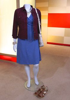 Blue Dress from Horney Toad/Zappos, Maroon Denim Jacket from Levi's/Zappos, ...