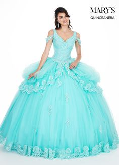 6aa8cd8a394 Marys Bridal Marys Quinceanera Dresses dress with Style - Fabric -  Tulle Satin Applique and Color - Aqua