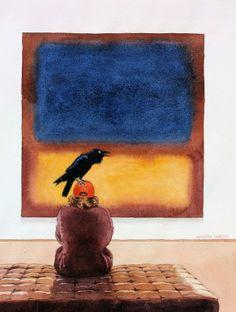 """Graeme Whittle; Watercolour 2013 Painting """"Rothko's Raven"""""""