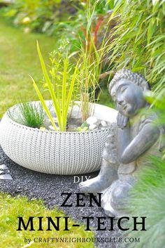 DIY- Gartenidee für einen Zengarten. Dieser Miniteich ist ganz schnell gemacht und perfekt für den Zengarten. Mehr auf CRAFTYNEIGHBOURSCLUB.COM#zengarden #gardenideas #miniteich