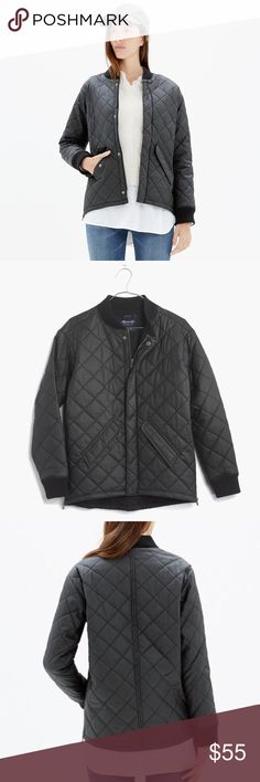 Madewell Quilted Session Bomber Jacket XS In excellent condition. No tears, stains, damage. A military-style bomber remade in quilted waxed cotton with supercool side zips. A brilliant transitional piece that layers perfectly over sweatshirts or sweaters.    True to size. Cotton. Machine wash. Import. Madewell Jackets & Coats