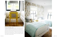 Yellow nightstand + books + oversize lamp | Paul & Katie Hackworth's Farmhouse Feature in Rue Magazine, Nov 2013