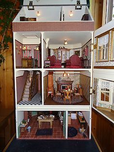 "Superb Fully Furnished Sid Cooke Dolls House ""Rectory Villa"" with working lights"