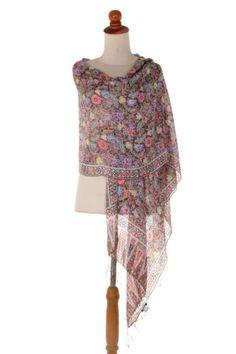 Silk-Batik-Shawl-Taupe-Floral-Handmade-039-Euphoria-039-NOVICA-Bali