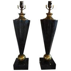 Pair of Tessellated Stone and Brass Lamps 1