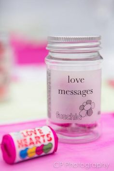 These cute candy jars are filled with mini packets of love heart sweets. Great for wedding favours or a token Valentines day gift. £2.99 each at www.fuschiadesigns.co.uk.