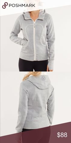 Lululemon scuba hoodie glen check feel loved and cherished in the thick Cotton Fleece the deep hood and high scuba collar keep your head and neck warm ribbed stretch side panels give you the perfect fit fitted ribbed waistband to stop cold gusts park your zipper in the zipper garage to keep it from scratching your chin thumbholes keep sleeves down and make layering easy don't scrounge around for a rubber band, your emergency hair tie is on the zipper Size 8 great condition lululemon…