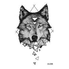 WYUEN Design Geometric Wolf Temporary Tattoo for Adult Waterproof Tattoo Sticker for Women Body Art Fake Tattoo for Man A-038