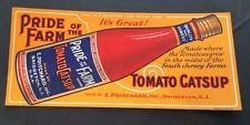 Pritchard Catsup graphic blotter Ketchup Bottle Bridgeton New Jersey mini sign