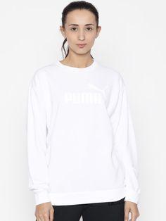 c28fe936bd7 Buy Puma Women White Printed ESS No.1 Crew TR W Sweatshirt - Sweatshirts  for Women 2083034 | Myntra