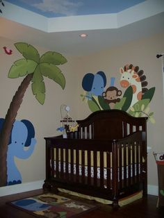 jungle bedroom - I want to do something similar to my nephews & niece's walls...