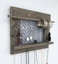 Jewelry Holder – Barnwood Wall Hanging Display Organizer with Shelf – Storage for Earrings Bracelets Necklaces and Rings – Jewelry Organizer Wood Wall Hanging Display Holder Necklace Earring Storage Jewelry Organization Ra – Earring Storage, Jewellery Storage, Jewellery Display, Earring Display, Diy Jewellery, Necklace Storage, Jewellery Holder, Wooden Jewelry Display, Jewellery Supplies