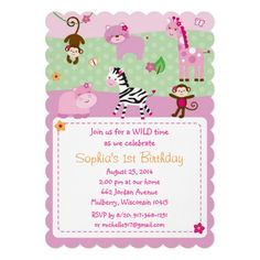 Pink Safari Jungle Animal Birthday Invitations
