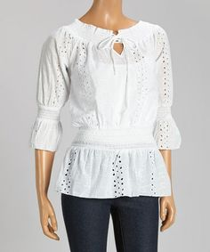 Look what I found on #zulily! White Floral Eyelet Shirred Peasant Top by Reunion Apparel #zulilyfinds