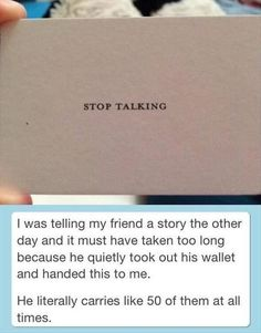 This business card:   The 27 Most Brilliant Things That Have Ever Happened I NEED THESE.