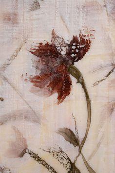 Original Encaustic Bees wax Painting  wild flower  by SwallaStudio