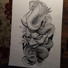 Hand is too sore to finish this tonight. #prismacolor #kingcobra #hannya…