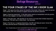 ''The Four Stages of the INFJ Door Slam'' source: INFJ Refuge You probably are dead to me before we reach that Stage! Infj Mbti, Intj And Infj, Enfj, Empath Traits, Infj Personality, Myers Briggs Personality Types, Quotes Funny Sarcastic, Infj Door Slam, Libra