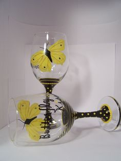Butterfly Kisses Wine Glass Yellow Butterfly Hand by GranArt