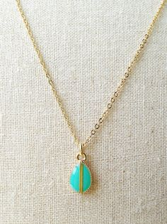 Green Teardrop Necklace Green Resin Necklace by CapriciousBijoux, ¥1700