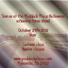 Halloween Schooling show @paddockplace1 October 27th 2012