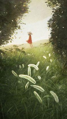 Girl with red dress in a field illustration Japon Illustration, Image Manga, Anime Scenery, Art Graphique, Anime Art Girl, Manga Art, Pretty Art, Digimon, Landscape Art