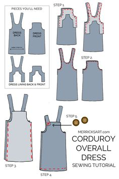 diy sewing projects learn how to make this cute corduroy overall dress! - This corduroy overall dress is easy to make and fun to wear! Exceptional 100 Sewing tips are offered on our internet site. Read more and you will not be sorry you did. Dress Sewing Patterns, Sewing Patterns Free, Free Sewing, Clothing Patterns, Pattern Sewing, Easy Dress Pattern, Patterns For Dresses, Dress Paterns, Pinafore Dress Pattern