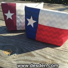 New! Texas flag make up bag with subtle chevron pattern, comes in classic or ATM colors. #aggies #texasflag #desden