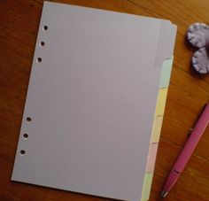 FILOFAX A5 compatible DIVIDERS for A5 Personal ORGANISERS Pastel Colours #154