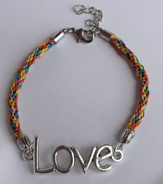 """Rainbow Colored Kumihimo Bracelet with """"Love"""" Centerpiece 8 inches """"Lovely Connection"""""""