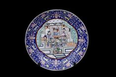 Chinese Canton Rose Medallion Porcelain Blue And White Wall Plate