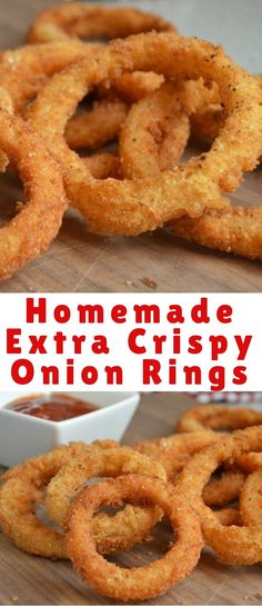 How To Make Perfect, Extra Crispy Homemade Onion Rings From Scratch Onion rings are one of my favorite appetizers to make – especially for game time parties and more. Not only are these onion rings easy to make, but they are extra crispy and delicious! Baked Onions, Crispy Onions, Dairy Free Appetizers, Appetizer Recipes, Best Onion Ring Recipe, Easy Onion Rings Recipe, Healthy Onion Rings, Onion Rings Fried, Crispy Fried Onion Rings Recipe