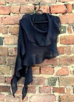 Black Linen Scarf Shawl Wrap Stole Light by Initasworks on Etsy, $74.00