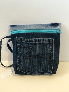 Recycled Blue Jean Wristlet Purse by jeanoligy on Etsy