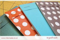 Pocket Notebook Tutorial from Milomade. Every step of the process is photographed in this easy to follow tutorial on how to make small pocket notebooks. Perfect for to do lists, and shopping lists as well as ideas - fits into any bag and most pockets.