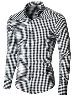 MODERNO Mens Slim Fit Checkered Shirt (MOD1458LS) Black/White. FREE worldwide shipping! 30 days return policy